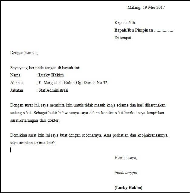 Contoh Surat Permohonan Izin Tidak Masuk Kerja Kumpulan