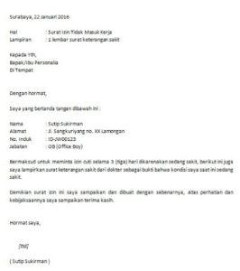 Surat Permohonan Izin Tidak Masuk Kerja Karyawan PNS