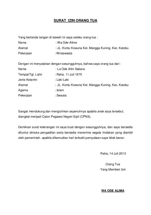 Surat Izin Orang Tua