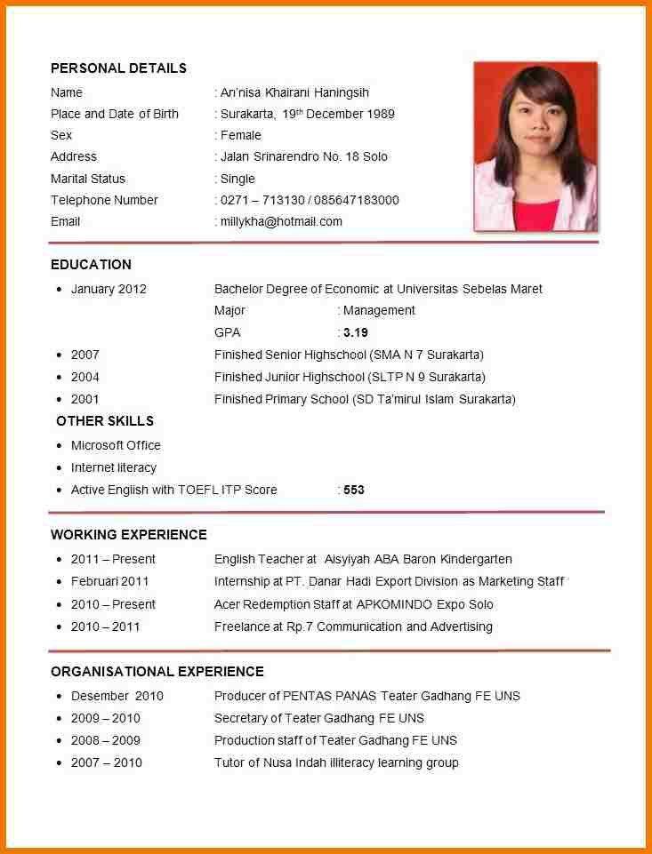 CV bhs Inggris