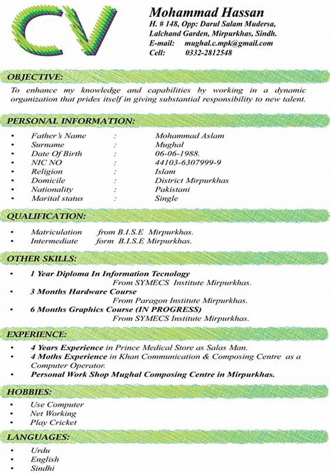 Contoh CV Menggunakan Bhs Inggris