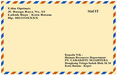 Contoh Penulisan Amplop Surat Lamaran Kerja