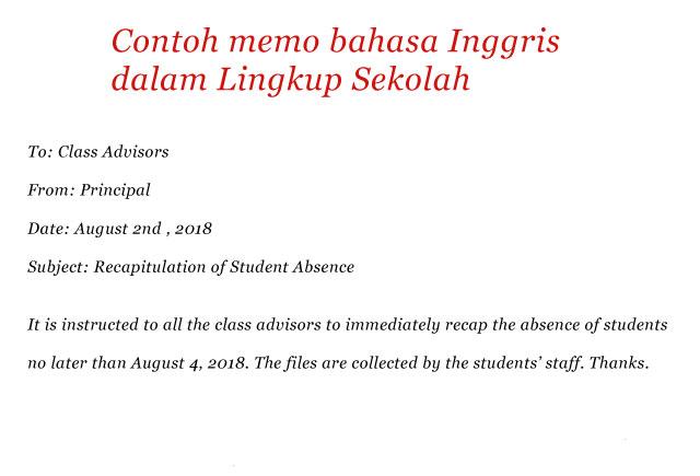 Contoh memo bahasa Inggris dalam Lingkup Sekolah